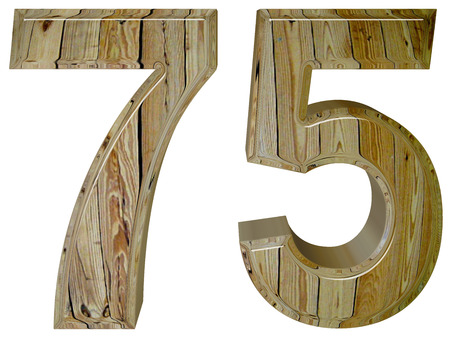 Numeral 75, seventy five,, isolated on white background, 3d render