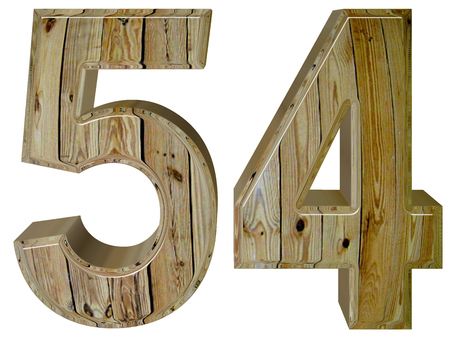 Numeral 54, fifty four, isolated on white background, 3d render