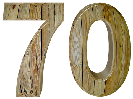 tridimensional: Numeral 70, seventy, isolated on white background, 3d render Stock Photo