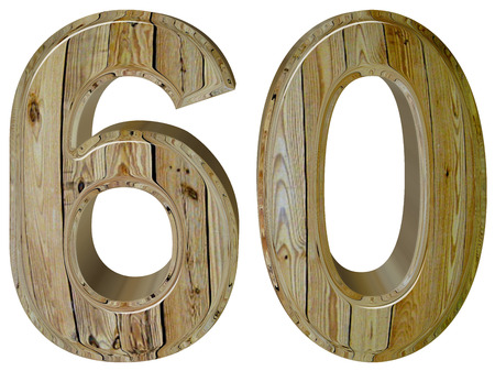 60: Numeral 60, sixty, sixty, isolated on white background, 3d render