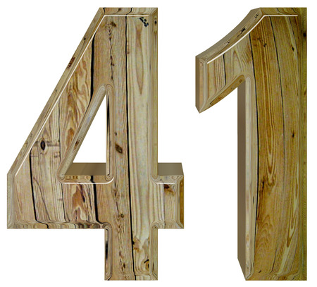 Numeral 41, forty one, isolated on white background, 3d render