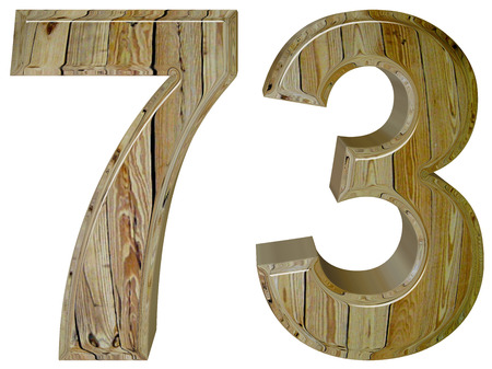 seventy: Numeral 73, seventy three, isolated on white background, 3d render Stock Photo