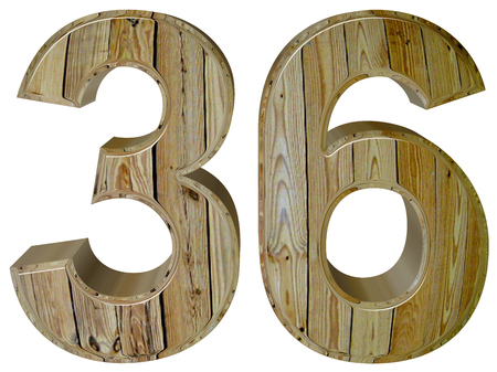 number 36: Numeral 36, thirty six, isolated on white background, 3d render