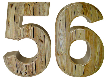 tridimensional: Numeral 56, fifty six, isolated on white background, 3d render