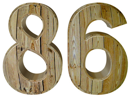 tridimensional: Numeral 86, eighty six, isolated on white background, 3d render