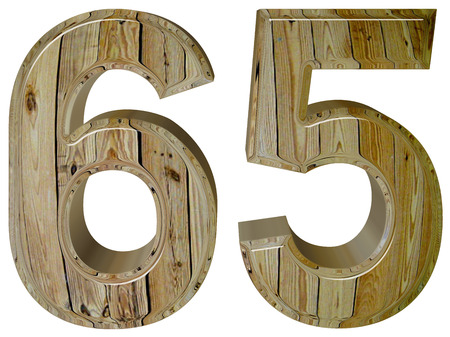 tridimensional: Numeral 65, sixty five, isolated on white background, 3d render