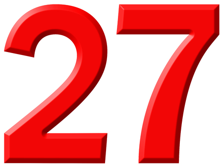 Numeral 27, twenty seven, isolated on white background, 3d render