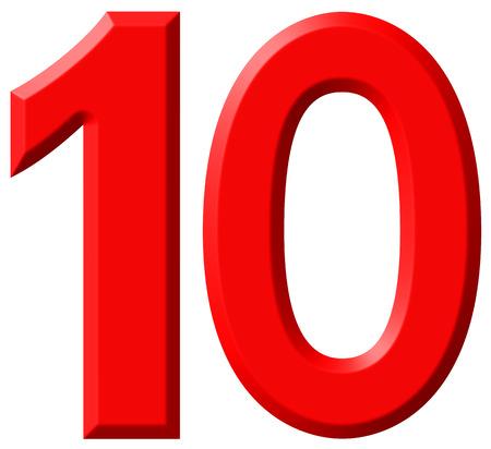 numero diez: El número 10, diez, aislado sobre fondo blanco, 3d