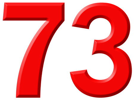 Numeral 73, seventy three, isolated on white background, 3d render Stock Photo