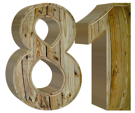 Numeral 81, eighty one, isolated on white background, 3d render Stock Photo