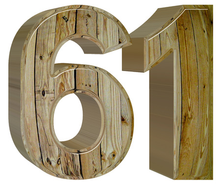 Numeral 61, sixty one, isolated on white background, 3d render Stock Photo