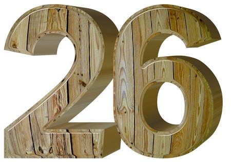 twenty six: Numeral 26, twenty six, isolated on white background, 3d render