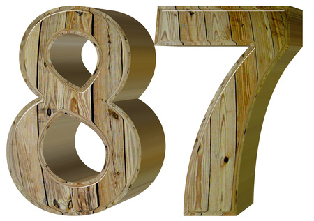 Numeral 87, eighty seven, isolated on white background, 3d render