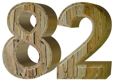 Numeral 82, eighty two, isolated on white background, 3d render Stock Photo
