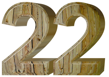 Numeral 22, twenty two, isolated on white background, 3d render