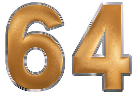 Numeral 64, sixty four, isolated on white background, 3d render Stock Photo