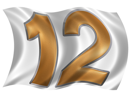12: In the wind fluttering the flag with numeral 12, twelve, isolated on white background, 3d render