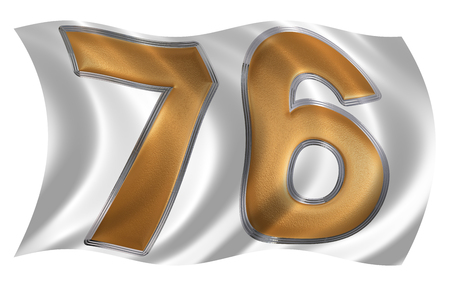 In the wind fluttering the flag with numeral 76, seventy six, isolated on white background, 3d render