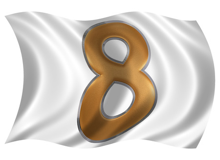 raise the white flag: In the wind fluttering the flag with numeral 8, eight, isolated on white background, 3d render