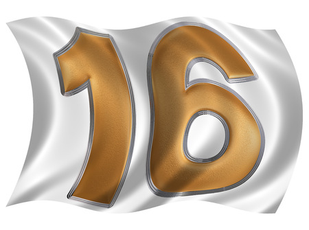 raise the white flag: In the wind fluttering the flag with numeral 16, sixteen, isolated on white background, 3d render Stock Photo