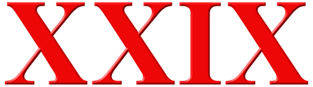 Roman numeral XXIX, novem et viginti, 29, twenty nine, isolated on white background, 3d render