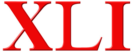 et: Roman numeral XLI, unus et quadraginta, 41, forty one, isolated on white background, 3d render
