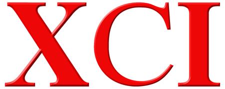 Roman numeral XCI, unus et nonaginta, 91, ninety one, isolated on white background, 3d render