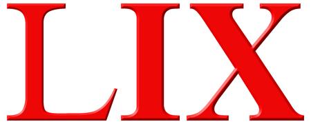 et: Roman numeral LIX, novem et quinquaginta, 59, fifty nine, isolated on white background, 3d render