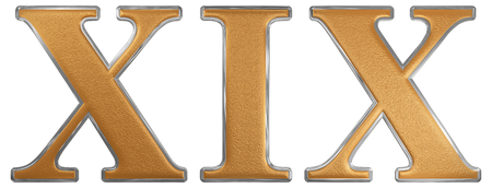 nineteen: Roman numeral XIX, undeviginti, 19, nineteen, isolated on white background, 3d render