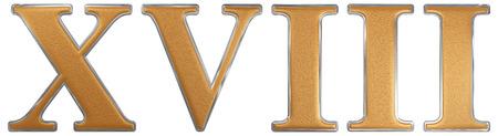 Roman numeral XVIII, duodeviginti, 18, eighteen, isolated on white background, 3d render