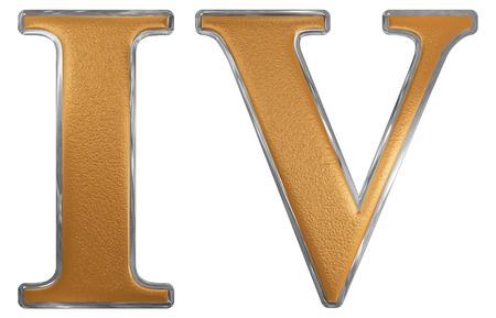 IV chiffre romain, quattuor, 4, quatre, isolé sur fond blanc, 3d render