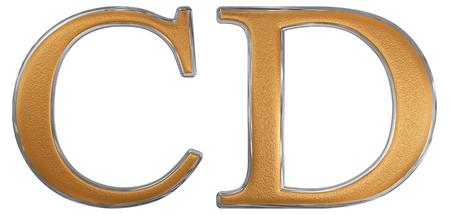 Roman numeral CD, quadringenti, 400, four hundred, isolated on white background, 3d render