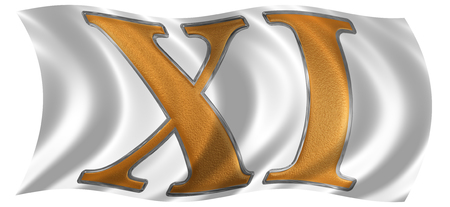 In the wind fluttering the flag with roman numeral XI, undecim, 11, eleven, isolated on white background, 3d render
