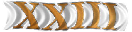 et: In the wind fluttering the flag with roman numeral XXIII, tres et viginti, 23, twenty three, isolated on white background, 3d render Stock Photo