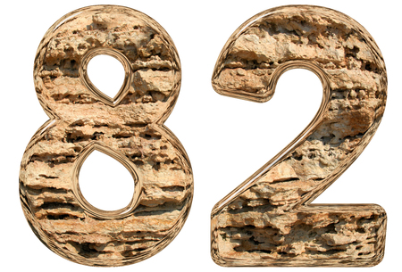 limestone: Numeral 82, eighty two, isolated on white, natural limestone, 3d illustration Stock Photo