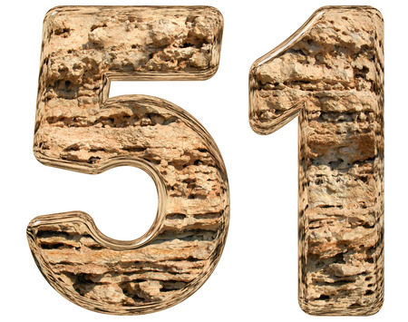 limestone: Numeral 51, fifty one, isolated on white, natural limestone, 3d illustration