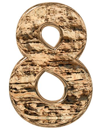 limestone: Numeral 8, eight, isolated on white, natural limestone, 3d illustration Stock Photo