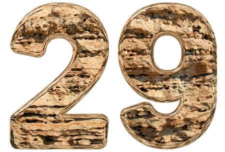 limestone: Numeral 29, twenty nine, isolated on white, natural limestone, 3d illustration