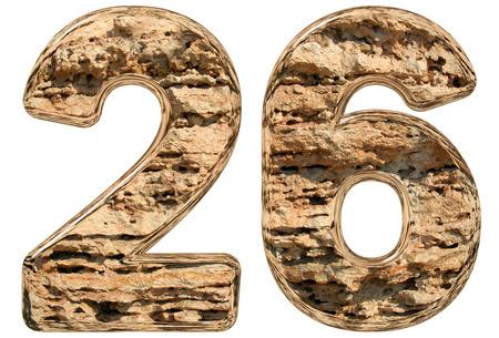 Numeral 26, twenty six, isolated on white, natural limestone, 3d illustration