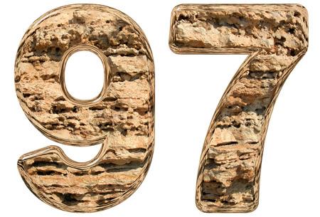 limestone: Numeral 97, ninety seven, ninety, isolated on white, natural limestone, 3d illustration