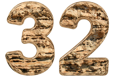 limestone: Numeral 32, thirty two, isolated on white, natural limestone, 3d illustration