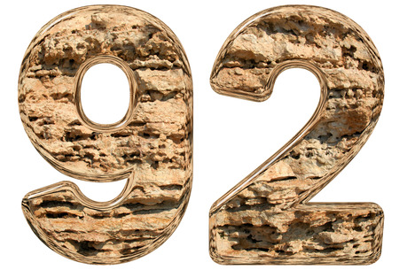 limestone: Numeral 92, ninety two, isolated on white, natural limestone, 3d illustration
