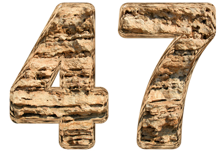 limestone: Numeral 47, forty seven, isolated on white, natural limestone, 3d illustration