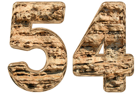 limestone: Numeral 54, fifty four, isolated on white, natural limestone, 3d illustration
