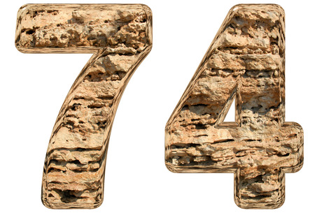limestone: Numeral 74, seventy four, isolated on white, natural limestone, 3d illustration