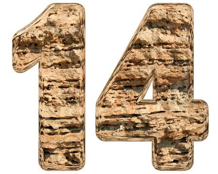 limestone: Numeral 14, fourteen, isolated on white, natural limestone, 3d illustration Stock Photo