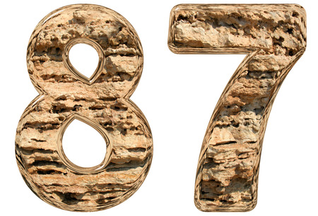 limestone: Numeral 87, eighty seven, isolated on white, natural limestone, 3d illustration