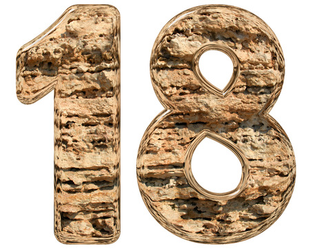 Numeral 18, eighteen, isolated on white, natural limestone, 3d illustration