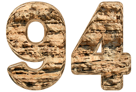 Numeral 94, ninety four, isolated on white, natural limestone, 3d illustration Stock Photo