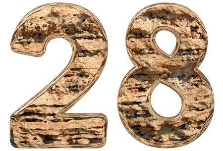 limestone: Numeral 28, twenty eight, isolated on white, natural limestone, 3d illustration